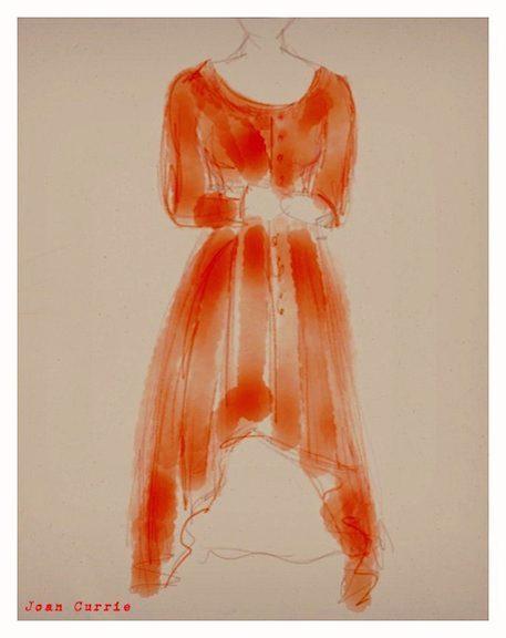 © Joan Currie - Long red dress watercolor