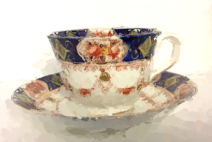 Navy teacup by Joan Currie